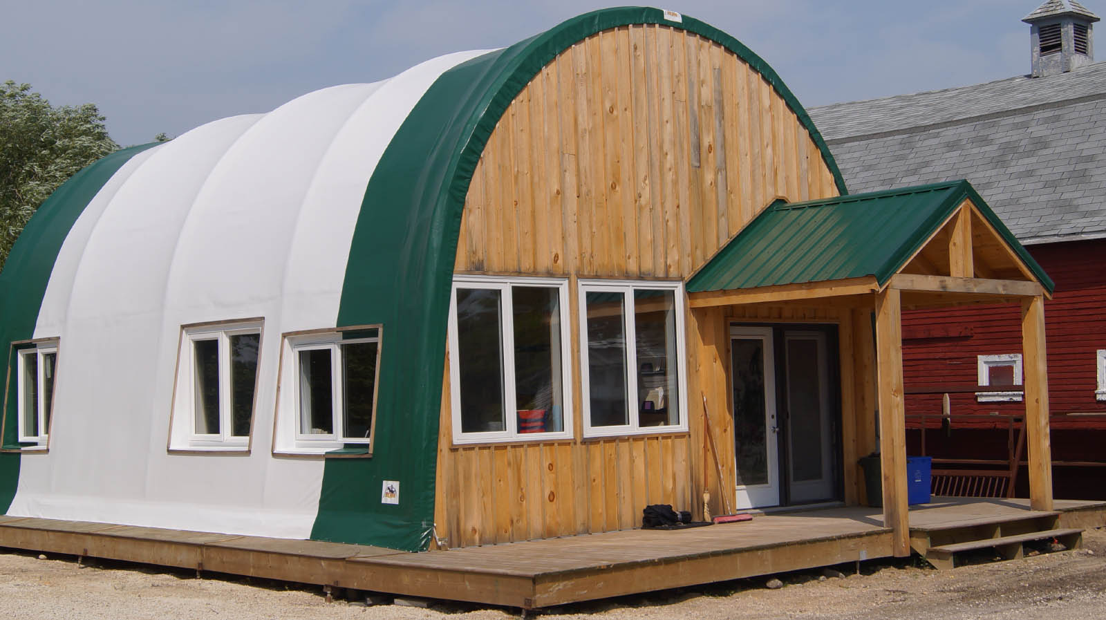 Fabric Building with Wood Front Wall